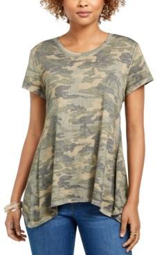 Style&Co. Style & Co Camo-Print Handkerchief-Hem T-Shirt, Created for Macy's