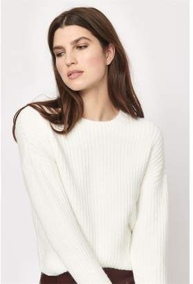 Dynamite Ribbed Crew Neck Sweater Off-White