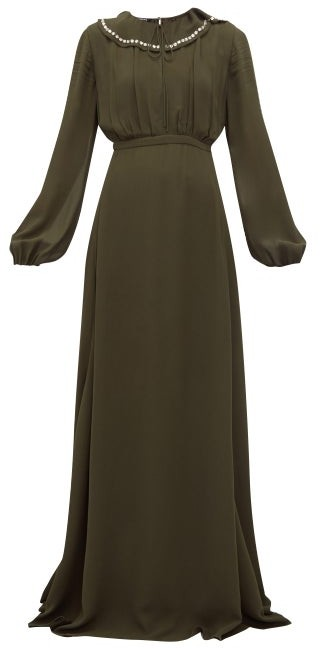 Rochas Crystal-collar Balloon-sleeve Georgette Gown - Green
