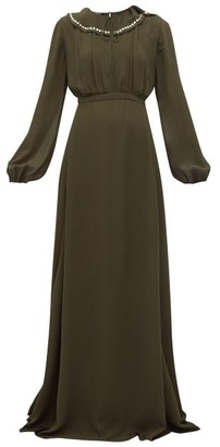 Rochas Crystal-collar Balloon-sleeve Georgette Gown - Womens - Green