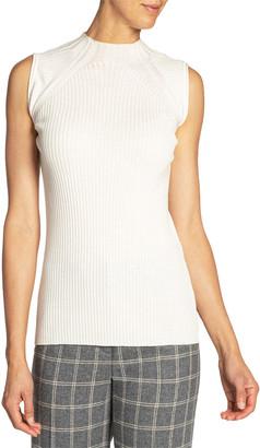 Santorelli Sleeveless Fancy Knit Wool Top