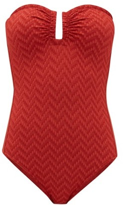 Eres Cassiopee U-ring Strapless Zigzag-knitted Swimsuit - Red