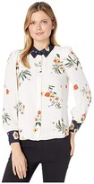 Vince Camuto Long Sleeve Surreal Garden Button-Down Blouse (Pearl Ivory) Women's Blouse
