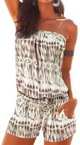 VamJump Womens Casual Drawstring Pockets Short Playsuit Jumpsuit Beach
