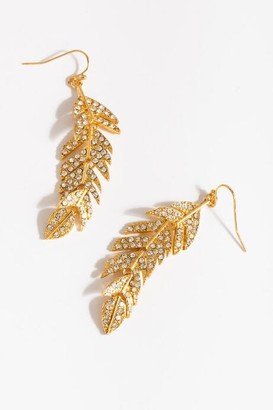 francesca's Ivann 3D Feather Drop Earrings - Gold