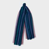 Paul Smith Women's Navy Gradient Stripe Silk-Blend Scarf