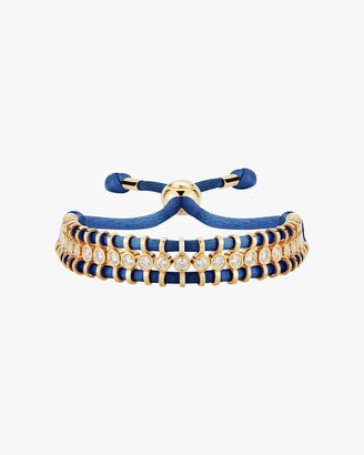 Jemma Wynne Cord Slider Blue Diamond Bracelet