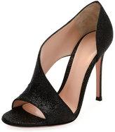 Gianvito Rossi Demi Asymmetric Metallic Fabric Sandal, Black