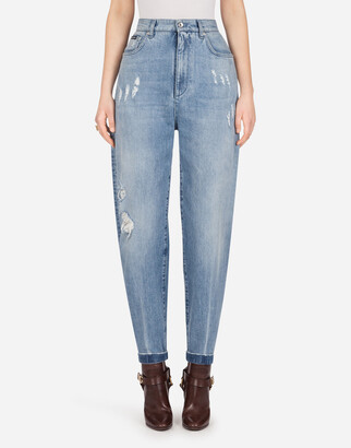 Dolce & Gabbana Boyfriend Jeans In Light Blue Denim With Rips