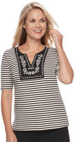 Croft & Barrow Petite Striped Embroidered Bib Top
