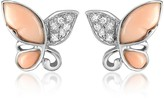Del Gatto Diamond Gemstone Butterfly 18K Gold Earrings