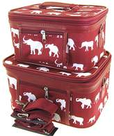 scarlettsbags Elephant Print 2 Piece Train Case Cosmetic Set Travel Toiletry Luggage