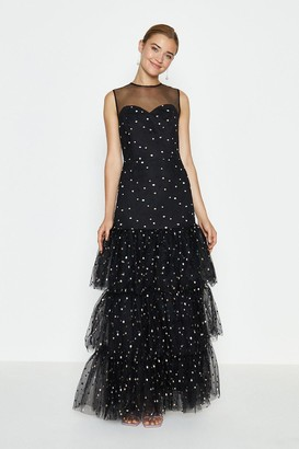 Coast Drop Waist Tiered Embroidered Maxi Dress