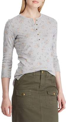 Chaps Petite Printed Cotton Henley