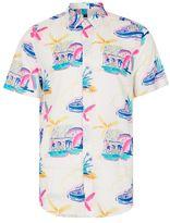 Topman White Abstract Palms Print Short Sleeve Casual Shirt