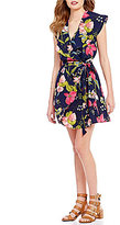 GB Floral Flutter-Sleeve Wrap Dress