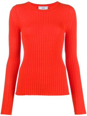 Ami Crew-Neck Ribbed Jumper