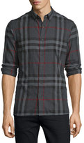 Burberry Ecclestone Check Flannel Shirt, Charcoal