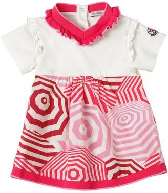 Moncler Printed Cotton Jersey & Poplin Dress
