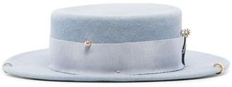 Ruslan Baginskiy Piercing-Detail Canotier Hat