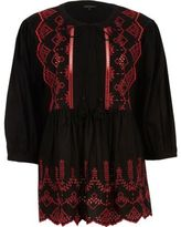 River Island Womens Black embroidered smock top