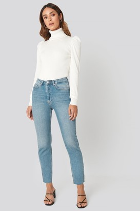NA-KD Hanna Weig X High Rise Straight Cut Jeans Blue