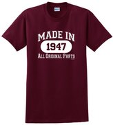 ThisWear 70th Birthday Decorations 70th Birthday Gift Made 1947 All Original Parts T-Shirt XL