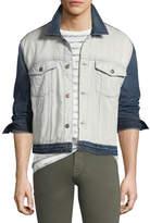 7 For All Mankind Men's Inside-Out Denim Trucker Jacket