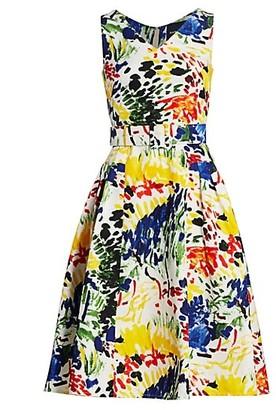 Samantha Sung Devon Belted Silk & Cotton Midi Dress