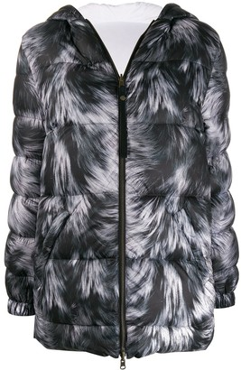 Mr & Mrs Italy fur-print feather down jacket