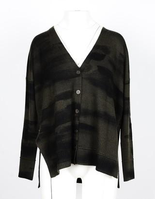 Lamberto Losani Black/Green Camouflage Wool, Silk and Cashmere Women's Cardigan Sweater