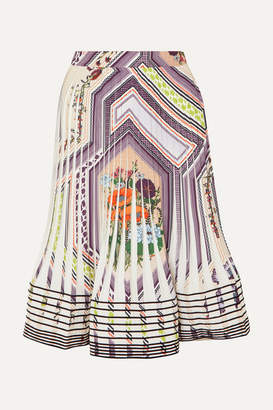 Tory Burch Pleated Printed Crepe Skirt - Ivory