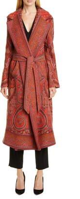 Etro Belted Paisley Jacquard Wrap Coat