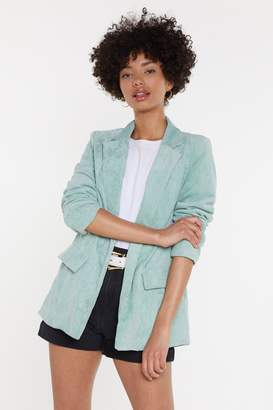 Nasty Gal Womens Suit Up Relaxed Corduroy Blazer - green - 8