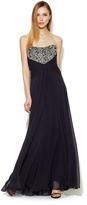Theia Strapless Beaded Bodice Silk Chiffon Gown
