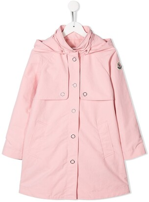 Moncler Enfant hooded A-line coat