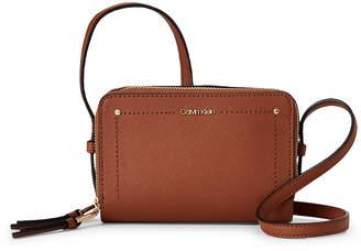 Calvin Klein Brown Faux Saffiano Leather Camera Crossbody