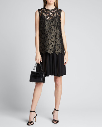 Oscar de la Renta Maple Leaf Lace Pleated Dress