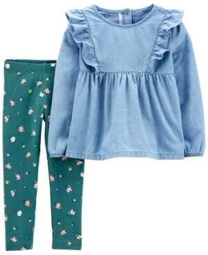 Carter's Toddler Girls 2-Pc. Chambray Tunic & Floral-Print Leggings Set