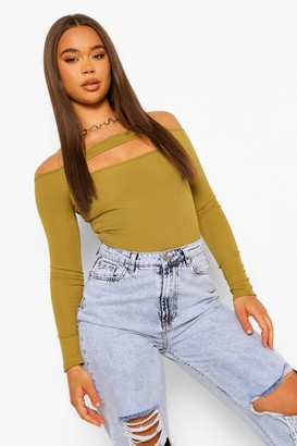 boohoo Off The Shoulder Long Sleeve Cut Out Bodysuit