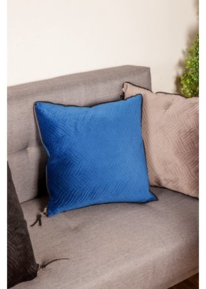 "Decmode - Square Blue Throw Pillow with Wavy Pattern and Gold Zipper, 18"" x 18"""