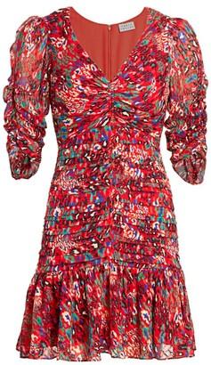 Tanya Taylor Pansy Animal Print Silk Flounce Dress
