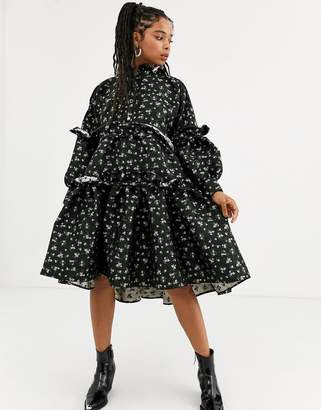 Sister Jane DREAM tiered volume midi smock dress with button front in floral jacquard-Black