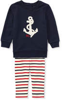 Ralph Lauren Atlantic Terry Anchor Sweatshirt w/ Striped Leggings, Size 6-24 Months