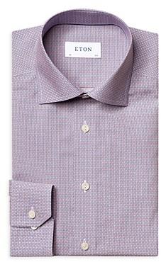 Eton Cotton Micro Print Convertible Cuff Slim Fit Dress Shirt