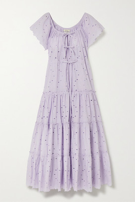 Innika Choo Alotta Gud Tiered Broderie Anglaise Cotton Maxi Dress - Lilac