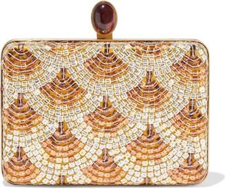 Oscar de la Renta Rogan Sequin-embellished Satin Box Clutch