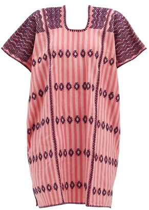 Pippa No.206 Embroidered Cotton Kaftan - Pink Print