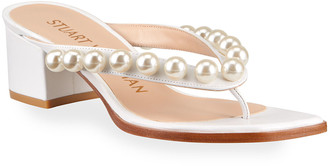 Stuart Weitzman Goldie 50 Pearly Leather Thong Sandals