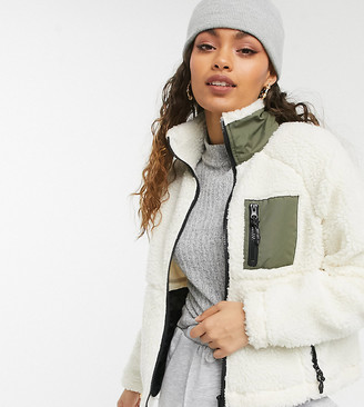Noisy May Petite borg zip through jacket in cream with khaki pocket